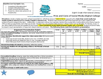 Middle School ELA Social Media Argument Presentation Rubric