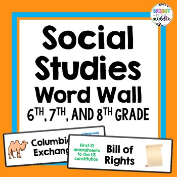 Middle School Social Studies Word Wall Cards - 6th, 7th, 8th Grade: 370 Words!!