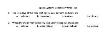 Middle School Space Science Vocabulary Test