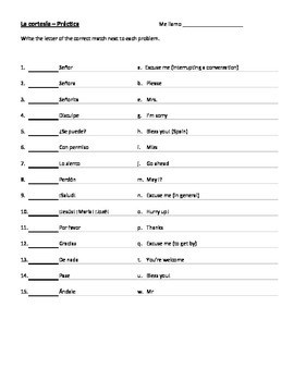 Middle School Spanish Courtesy Phrases Worksheets