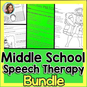 Middle School Speech Therapy Bundle | Speech and Language ...
