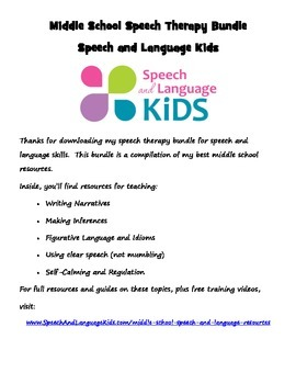 Middle School Speech Therapy Bundle