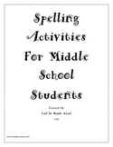 Middle School Spelling Engaging Activities - Any List