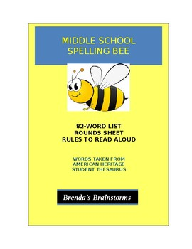 Middle School Spelling Bee - Brenda's Brainstorms (American Heritage Thesaurus)