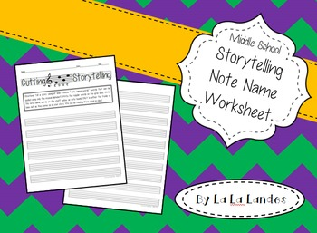 Middle School Storytelling Note Name Worksheet