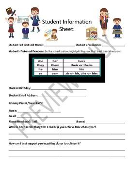 Middle School ELA Student Information Sheet