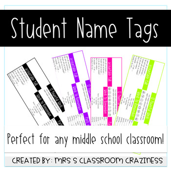 Middle School Student Name Tags