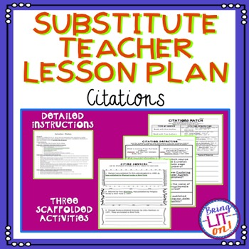 Middle School Substitute Teacher Lesson Plan - Citations