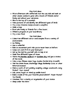 Middle School Summer Bucket List
