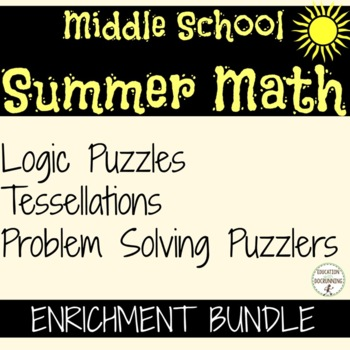 Middle School Summer Math Enrichment Bundle