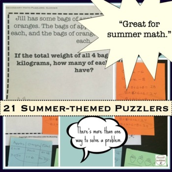 Summer Math Middle school Enrichment Bundle