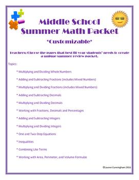 Middle School Summer Math Packet