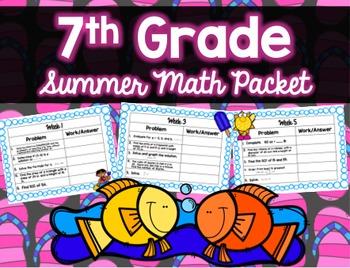 Middle School Summer Math Packet Bundle