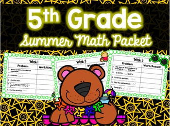 Middle School Summer Math Packet Bundle