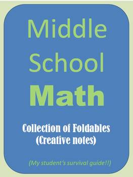 """Middle School MATH Collection of over 30 Foldables. """"Math Survival Guide"""""""