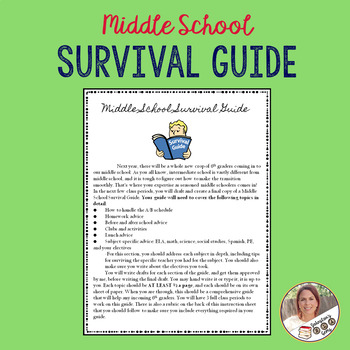 Middle School Survival Guide Writing Assignment w/ rubric