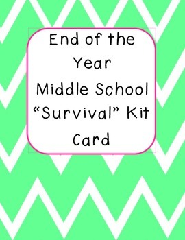 "Middle School ""Survival"" Kit Card FREEBIE"