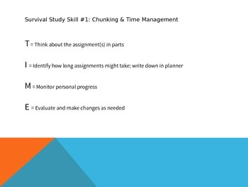 """Middle School Survival Skills - Time Management/ """"Chunking,"""" and Using Planners"""