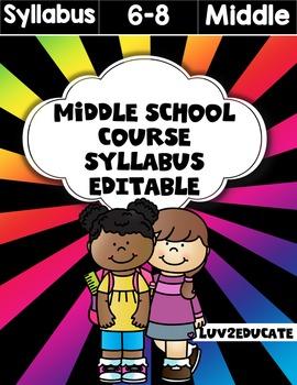 Middle School Syllabus Fully Editable