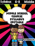 Middle School Syllabus Fully Editable
