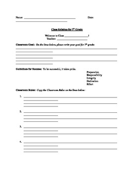 Middle School Classroom Rules, Routines and Procedures Syllabus