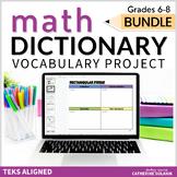 Middle School Math TEKS VOCABULARY BUNDLE DIGITAL DICTIONARY GOOGLE Editable