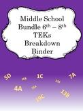 Middle School TEKs Breakdown Binders