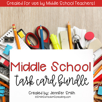 Middle School Task Card Bundle of Resources for Interactive Learning
