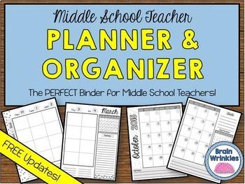Middle School Teacher Binder - Planner and Organizer (Editable)