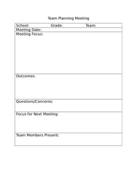 Middle School Team Meeting Template by Ezell Educational Consulting