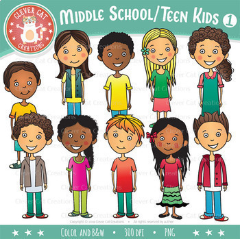 middle school teen kids clip art set 1 by clever cat creations rh teacherspayteachers com middle school clip art free middle school clipart black and white