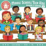 Middle School/Teen Kids Clip Art l Reading & Writing l Set 2