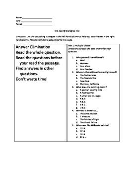 Middle School Test Taking Strategies Practice Test