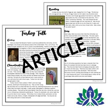 NO PREP Thanksgiving Science - Wild Turkey Biology Reading Article & Questions