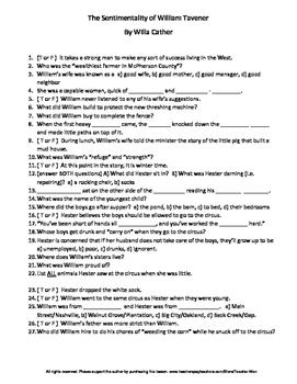 Middle School The Sentimentality of William Tavener W Cather Reading Worksheet