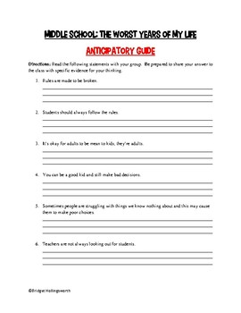 Middle School: The Worst Years of My Life Anticipation Guide