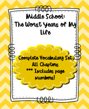 Middle School: The Worst Years of My Life Vocabulary List