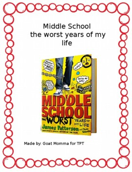 Middle School The worst years of my life Novel Literature Guide