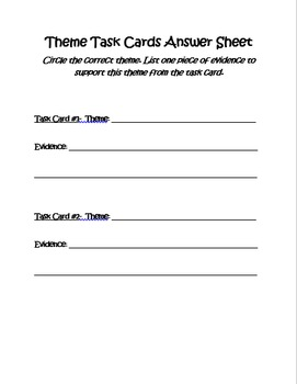 Middle School Theme Task Cards
