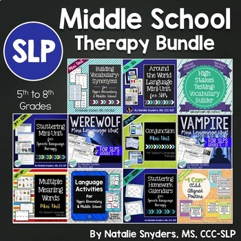 Middle School Therapy Bundle for Speech Language Therapy
