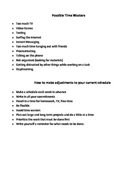 Middle School Time Management Lessons