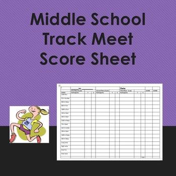 Middle School Track Meet Score Sheet