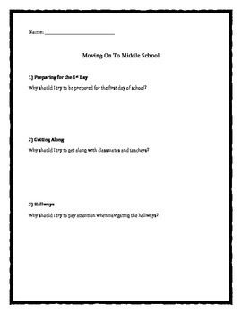 Middle School Transition: Moving Onto Middle School worksh