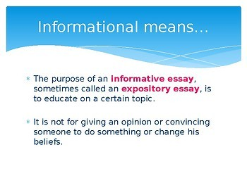 Middle School Types of Essays definitions