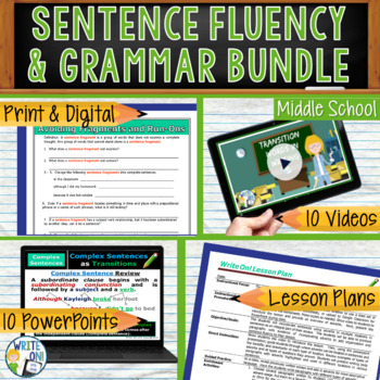 SENTENCE FLUENCY & GRAMMAR in Writing  BUNDLE!! - 10 LESSONS!!!! - Middle School
