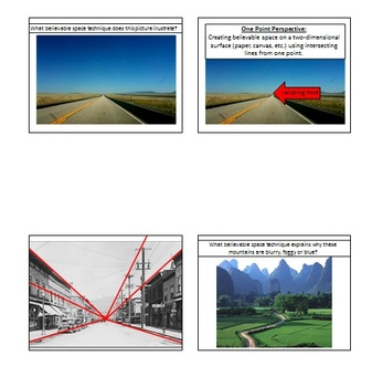 Visual Arts: Believable Space Techniques Review (PPT) (6th, 7th, 8th Grade)