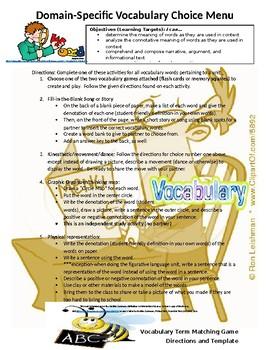 Middle School ELA Vocabulary Activity BUNDLE