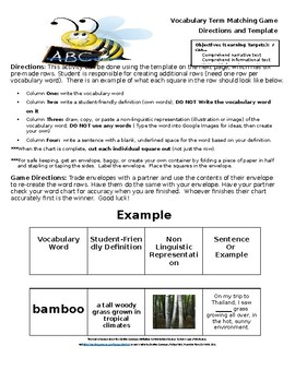Middle School ELA Vocabulary Matching Game Directions and Template