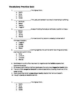 Middle School Vocabulary Quiz