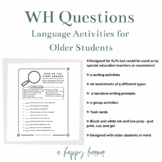 WH Questions Word Retrieval/Vocabulary Activity for Speech